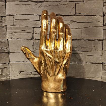 Main géante  en résine dorée 37 cm
