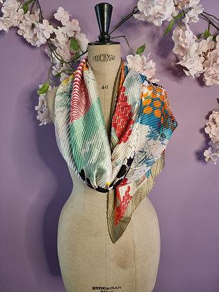 Foulard en soie plissé  yoko turquoise