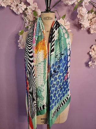 Foulard en soie plissée  Yoko marine