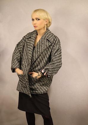 Manteau oversize tweed pailleté