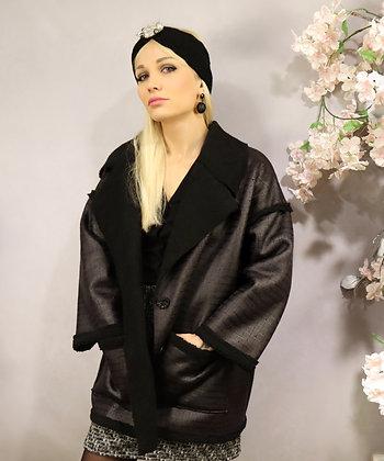 Manteau oversize noir façon croco
