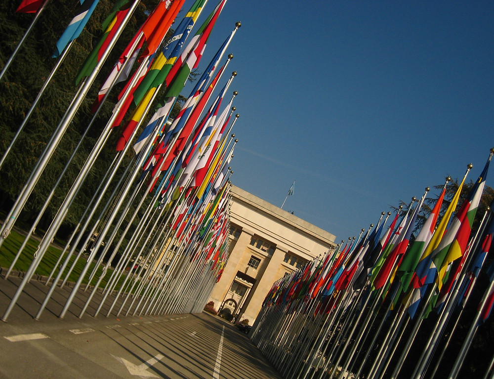 A tilted view of national flags at the UN offices in Geneva