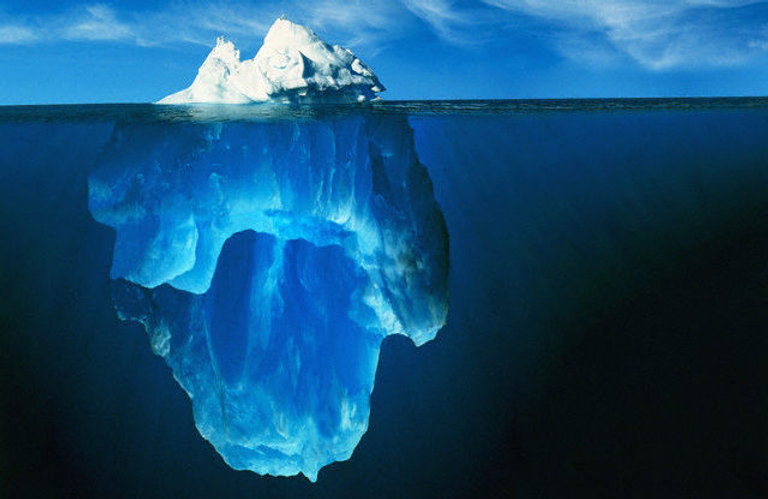 Bild på isberg som kan representera den mängd utsläpp som finns i det dolda.