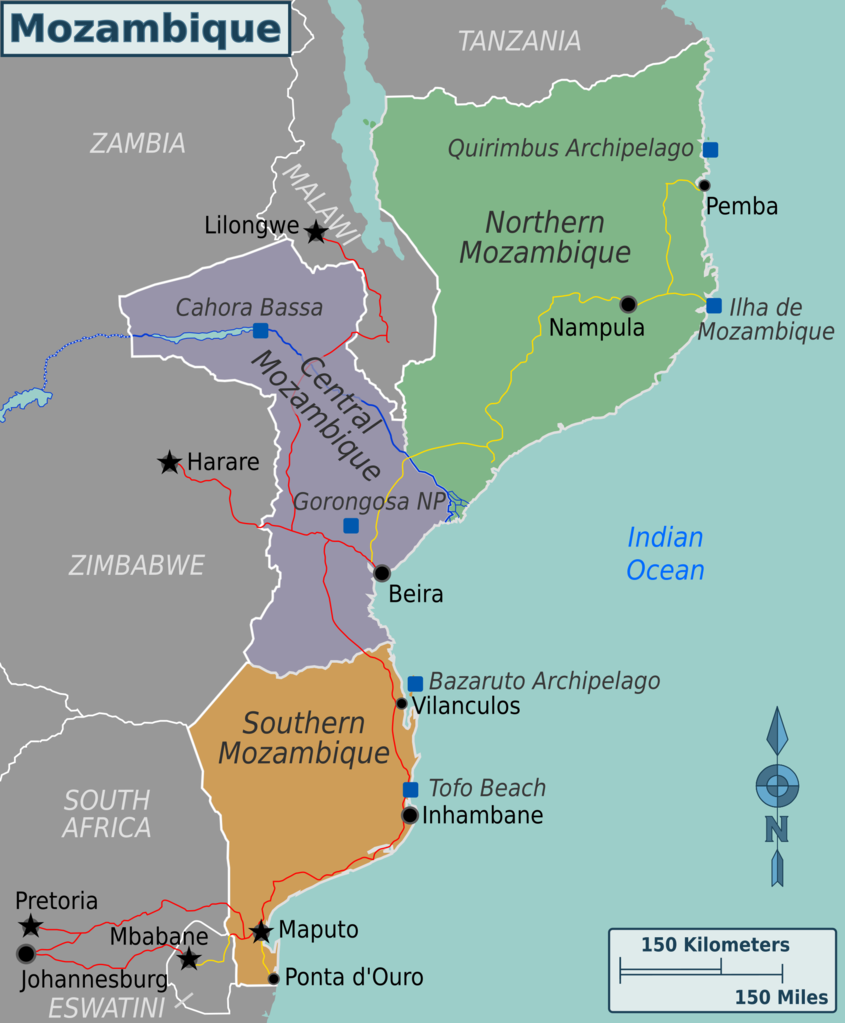 A map of Mozambique's regions