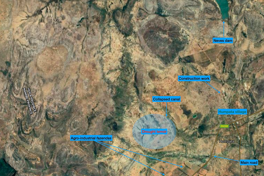A satellite image of the Humpata area, annotated showing the drough terroir area, collapsed canal, village, and other important features.
