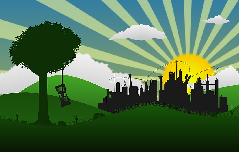 Illustration av natur och stad, i förgrunden ett träd med  ett hängande timglas och i bakgrunden skiner solen på stadens siluett.