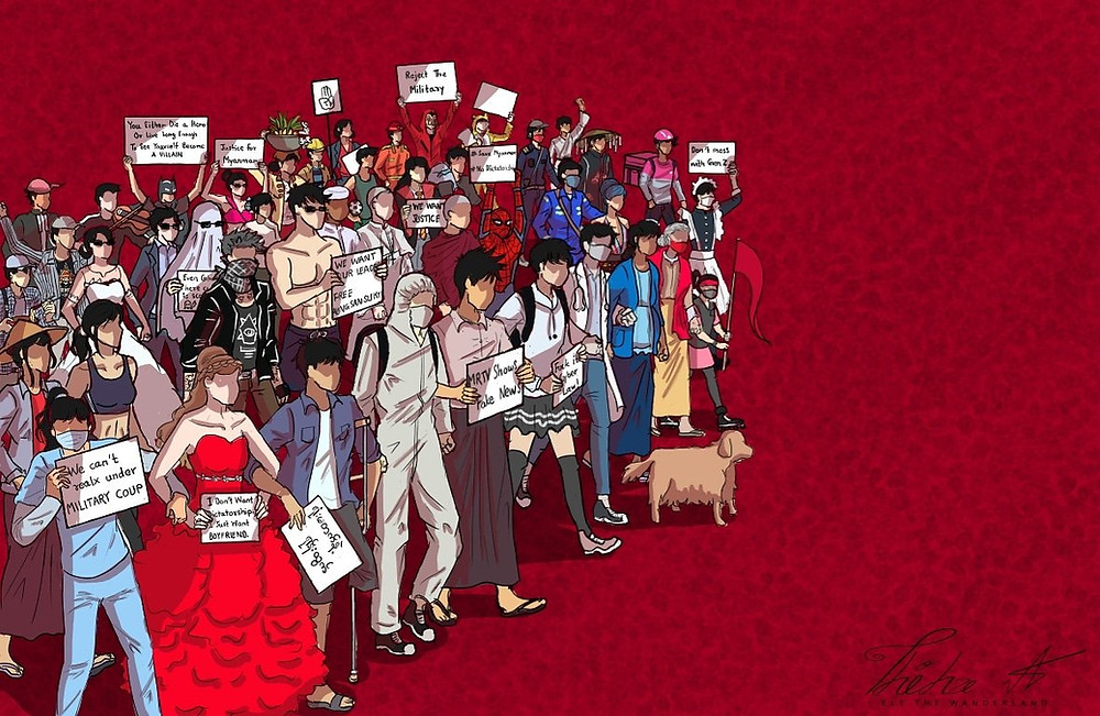 A drawing of a diverse group of protestors, some dressed up in various costumes others holding up signs with messages rejecting the Myanmar military coup' d'état, against a red background.