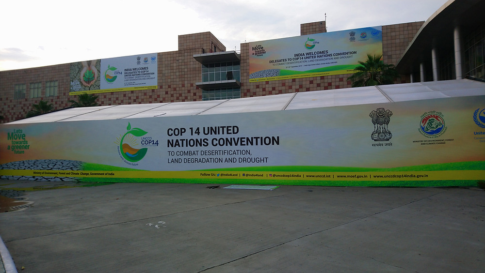 Welcome banner for the UNCCD COP14 conference in New Delhi, India