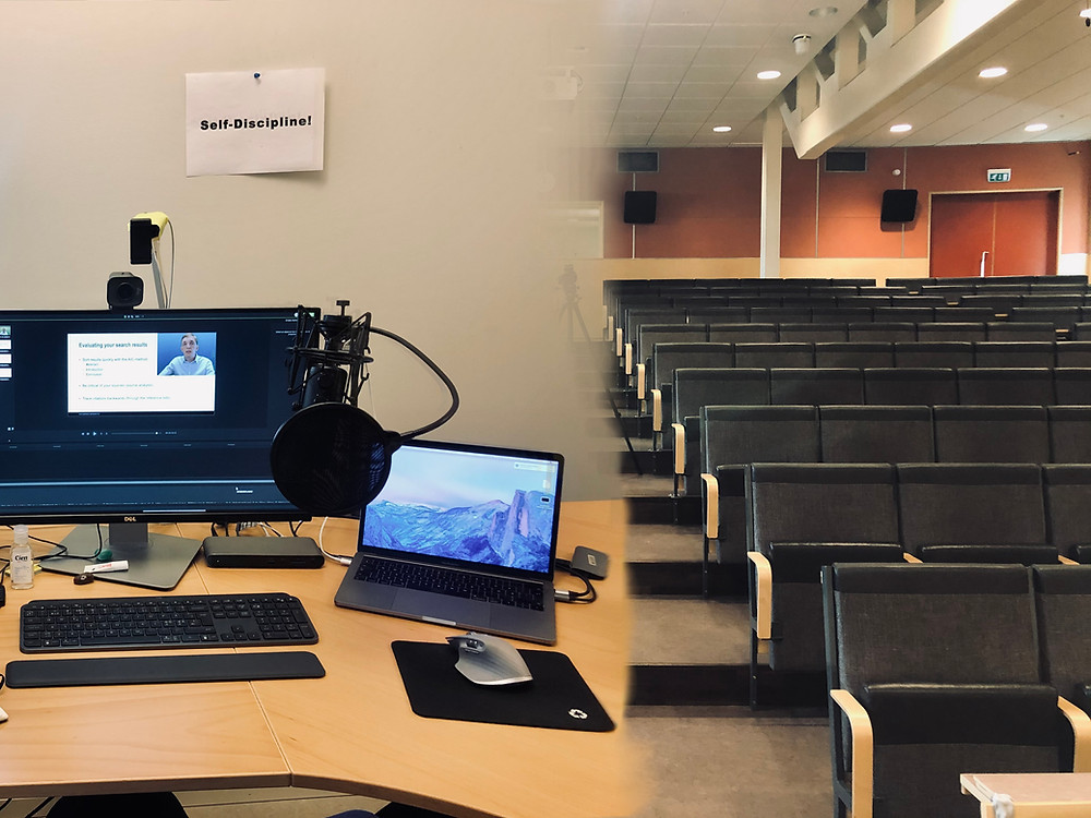 "A photo showing on the left  computer set up for online teaching with a sign behind saying ""self-discipline!"" and on the right a university lecture hall"