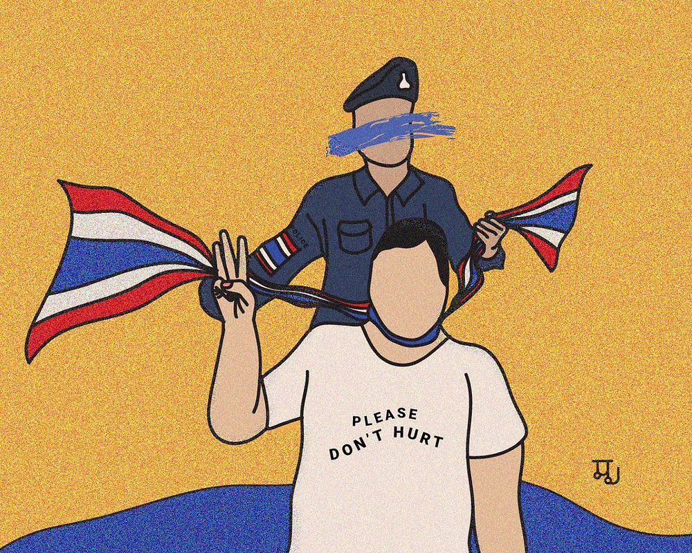 "A drawing of a person holding up three fingers wearing a shirt that says ""please don't hurt"" being strangled with a Thai flag by a police officer"