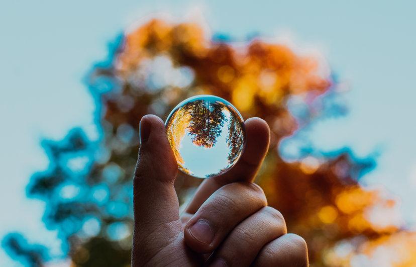 En hand håller upp en glaskula mot en bakgrund av himmel och träd, genom kulan syns bakgrunden upp-och-ned.