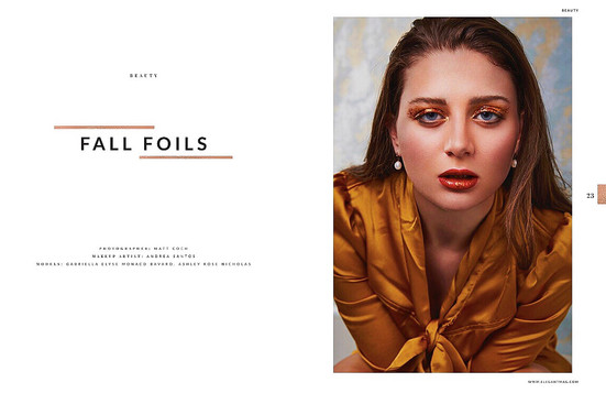 "ELEGANT Magazine  September 2019  Vol. 62, No. 1,  pgs. 22-27  ""Fall Foils"" by Matt Coch and Andrea Santos  ​"