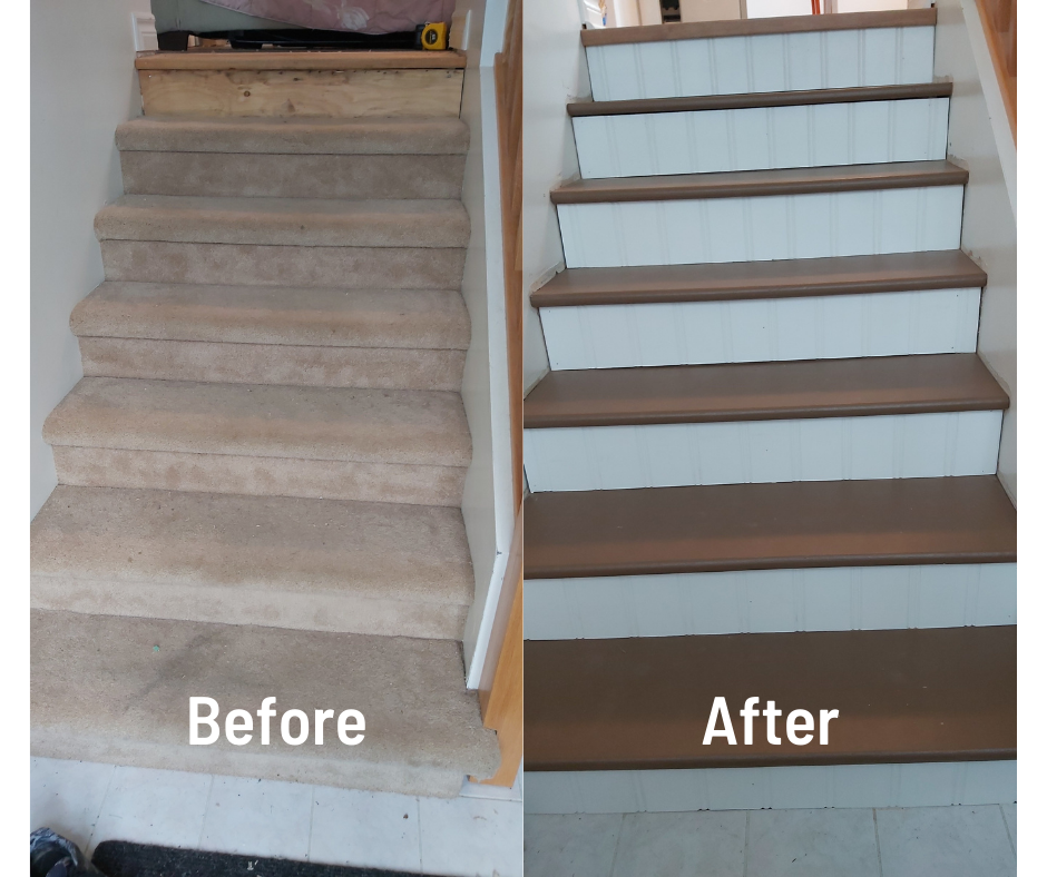 Carpet removed from stairs and painted