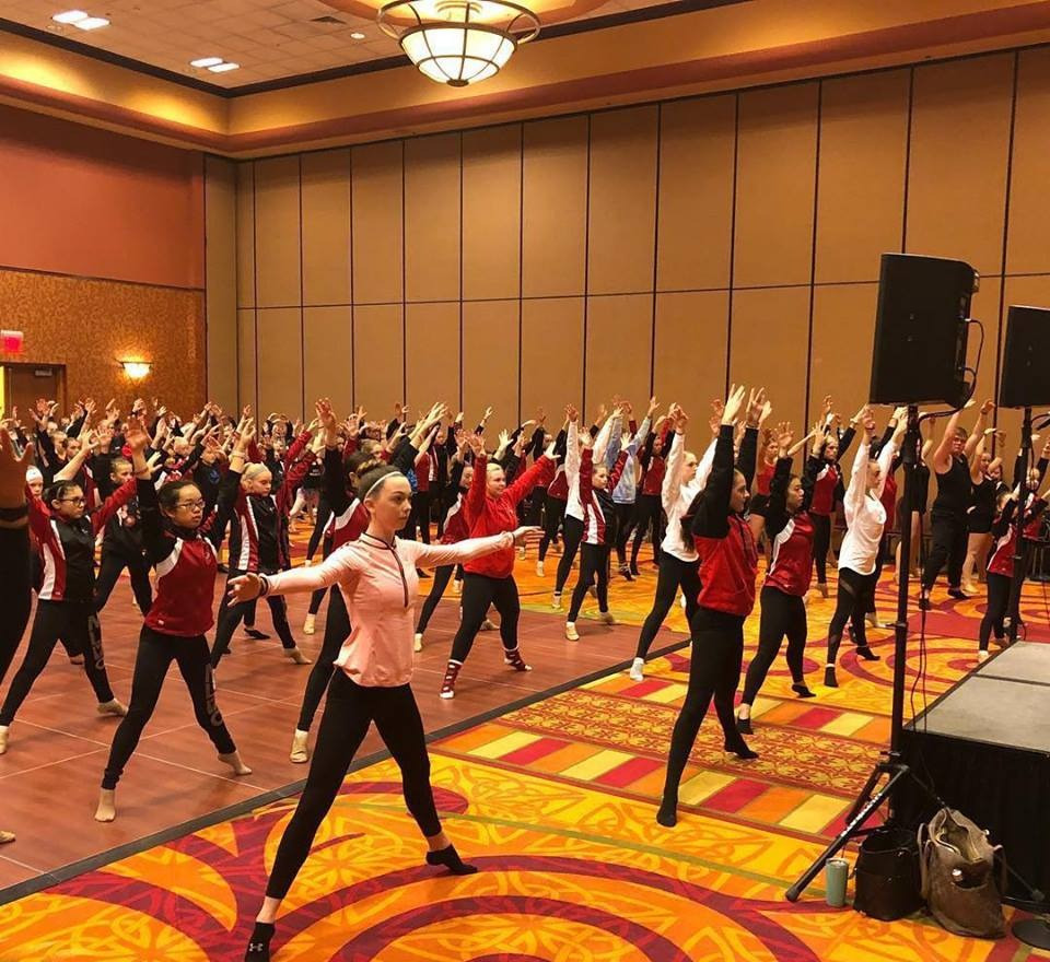 Dancers taking class at a dance convention in Omaha, NE