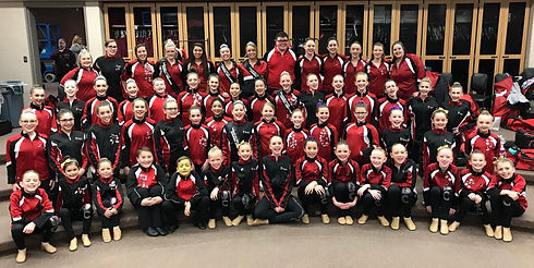 Large group of MLDC dancers at a dance competition in Omaha