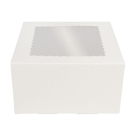 O'Creme White Cake Box with Scalloped Window