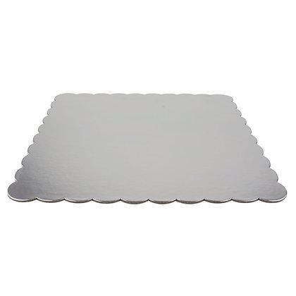 """O'Creme Silver Scalloped Square Cake Board, 9-7/8"""" x 3/32"""" Thick"""