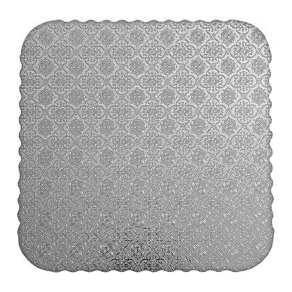O'Creme Silver Scalloped Corrugated Square Cake Board, Pack of 10