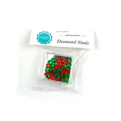 O'Crème Edible Green & Red Diamond Studs