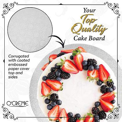 "O'Creme Round White Cake Board, 1/4"" High"