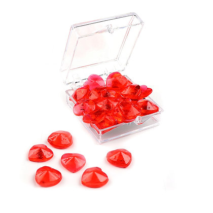 O'Crème Edible Red Heart Gems 11mm, 24 pieces