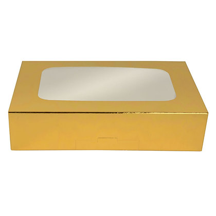 "O'Creme Gold Treat Box with Window, 8.5"" x 5.5"" x 2"""