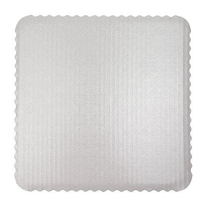 O'Creme White Scalloped Corrugated Square Cake Board, Pack of 10