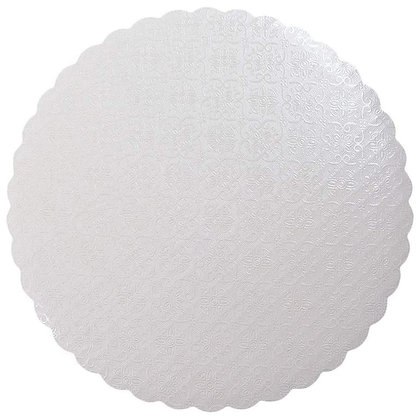 White Scalloped Round Cake Board, Pack Of 10