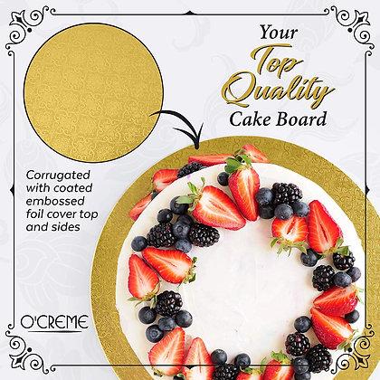 "O'Creme Round Gold Cake Drum Board, 1/4"" High"