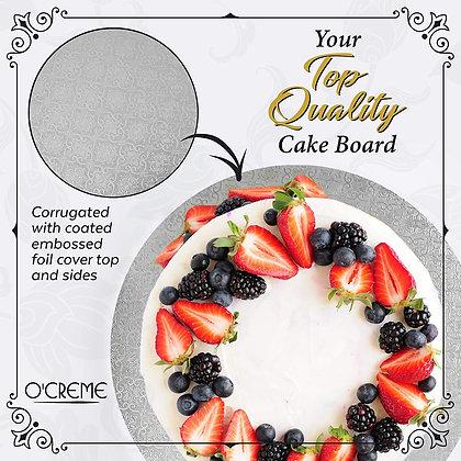 "O'Creme Round Silver Cake Board, 1/4"" High"