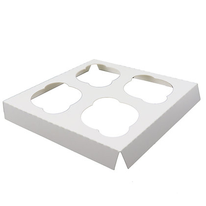 O'Creme White Cardboard Insert for Cupcakes, 4 Cavities