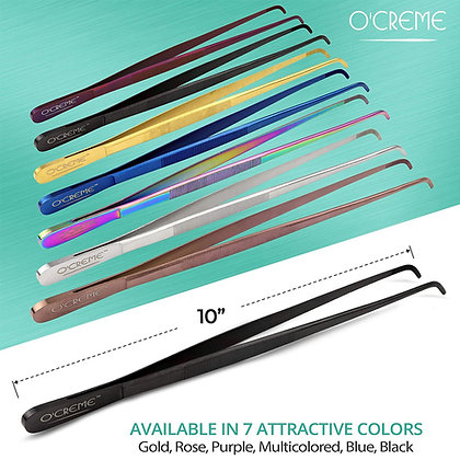 O'Creme Stainless Steel Curved Tip Tweezers, 10""