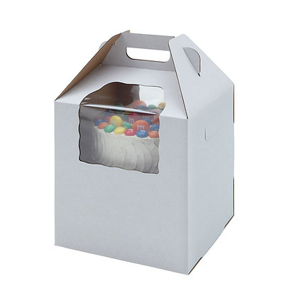 O'Creme Tall White Kraft Cake Carrier Box