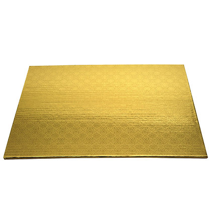 "O'Creme Rectangular Gold Foil Cake Board, 1/4"" Thick"