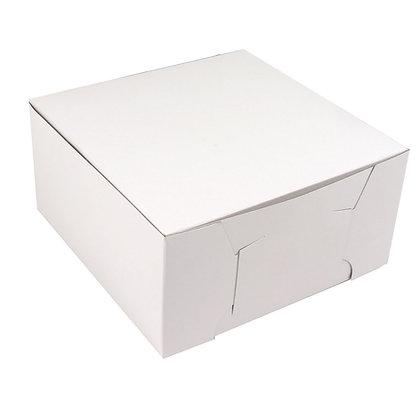 "O'Creme One Piece White Cake Box, 7"" x 7"" x 4"" High, Case of 100"
