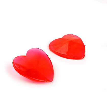"Extra Large Edible 1.25"" Red Heart Gems, 5 Pieces"