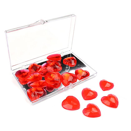 O'Crème Edible Red Heart Gems 20mm, 18 pieces