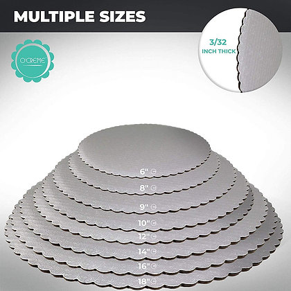 O'Creme Silver Scalloped Round Cake & Pastry Board, Pack of 10