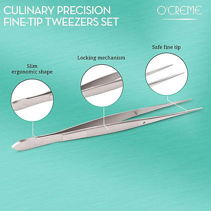"""O'Creme Stainless Steel Straight Fine Tip Tweezers, 6.25"""""""