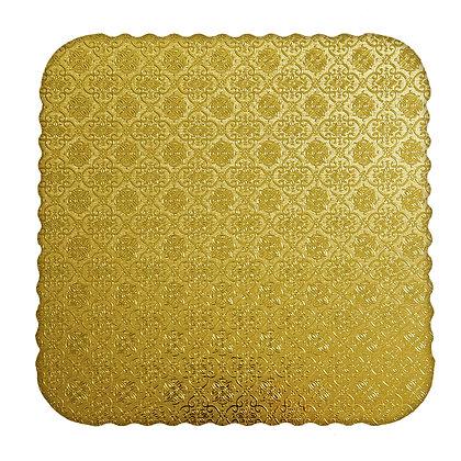 O'Creme Gold Corrugated Scalloped Square Cake Board, Pack of 10