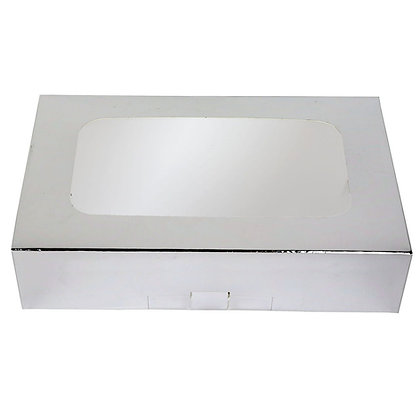 "O'Creme Silver Treat Box with Window, 8.5"" x 5.5"" x 2"""