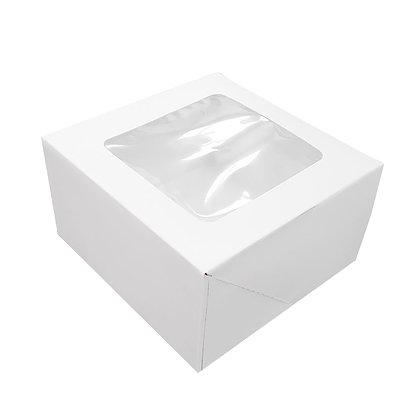 O'Creme White Square Cake Box 10 x 10 x 5 Inch High with Window, 1 pc
