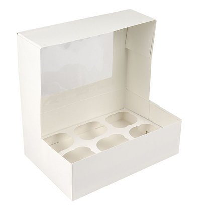"""O'Creme Rectangle White Cupcake Box with Window, 9.5""""x 6""""x 3"""" with Insert for 6"""