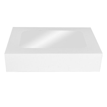 "O'Creme White Treat Box with Window, 8.5"" x 5.5"" x 2"""