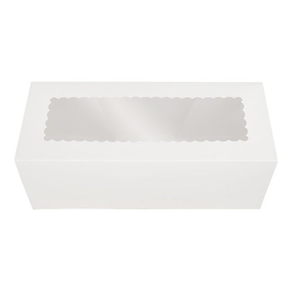 O'Creme White Log Box with Scalloped Window