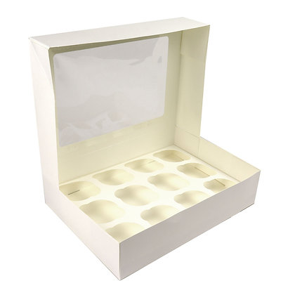 """O'Creme Rectangle White Cupcake Box with Window, 13""""x 10""""x 3"""" with Insert for 12"""
