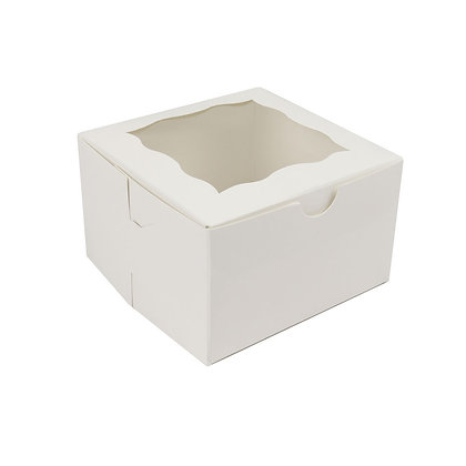 "O'Creme One Compartment Cupcake Box with Window, 4"" x 4"" x 2.5"" H"