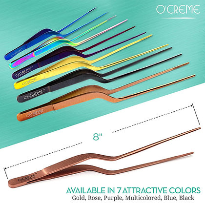 O'Creme Stainless Steel Fine Tip Offset Tweezers, 8""