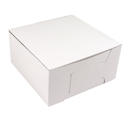 "O'Creme One Piece White Cake Box, 10"" x 10"" x 4"" High, Case of 100"