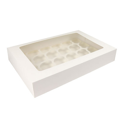 "O'Creme Rectangle White Cupcake Box with Window, 18""x 12""x 3"" with Insert for 24"